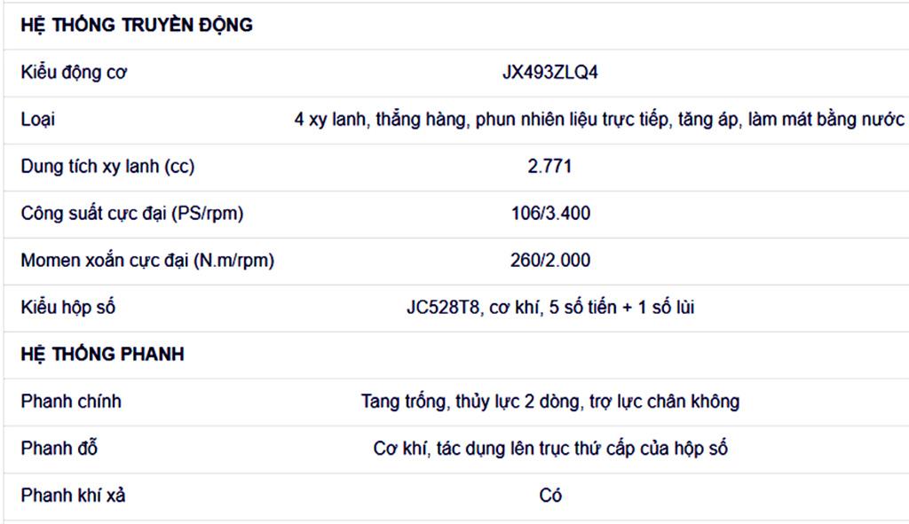 thông số kỹ thuật xe tải 3.5 tấn iz68s