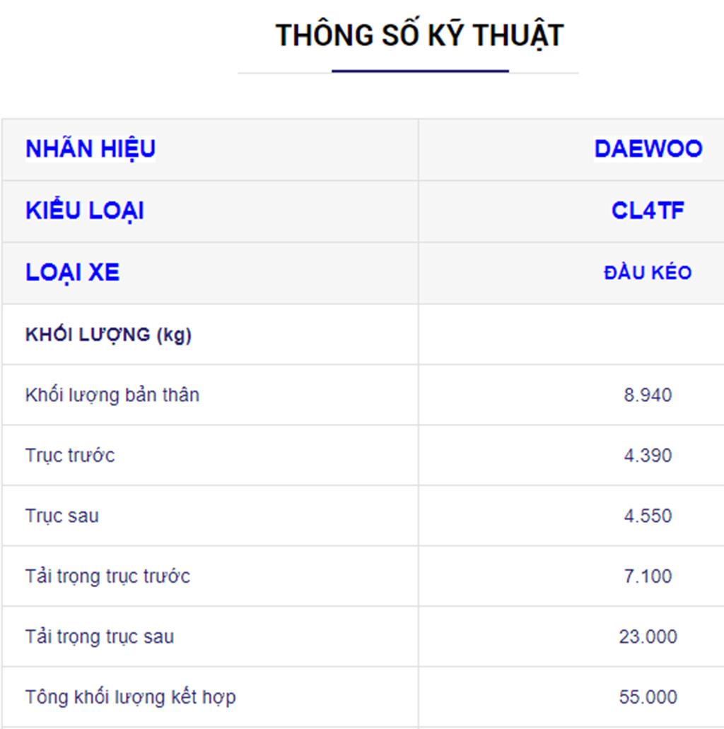 Thông số kỹ thuật chi tiết xe đầu kéo daewoo 55 tấn